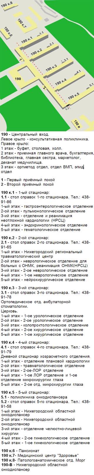 Схема корпусов и отделений областной клинической больницы Нижнего Новгорода