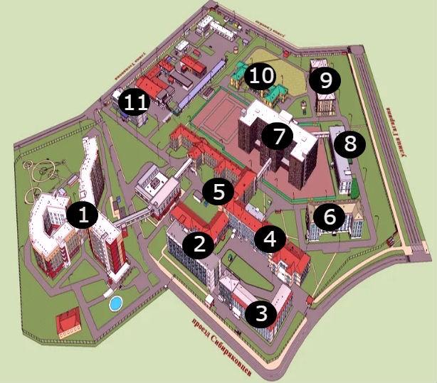 Схема корпусов Архангельской областной больницы (АОКБ)