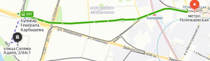 Схема: как добраться до 67 больницы от Полежаевской