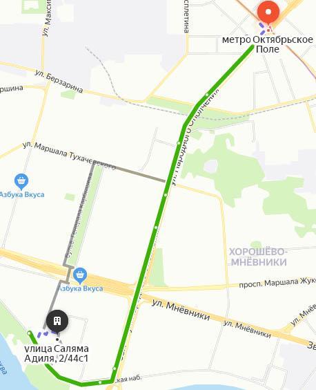 Схема проезда от метро Октябрьское поле