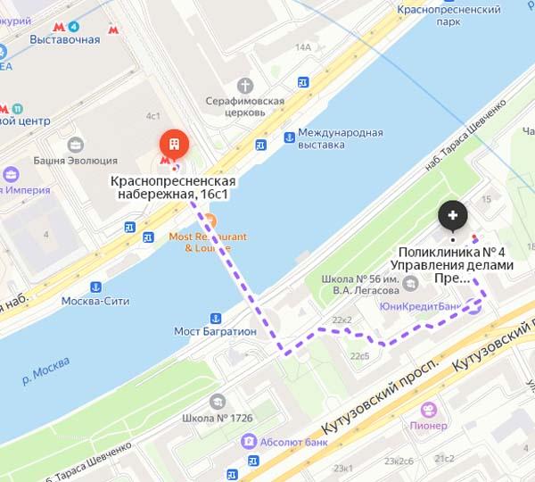 схема маршрута от метро до Поликлиники 4