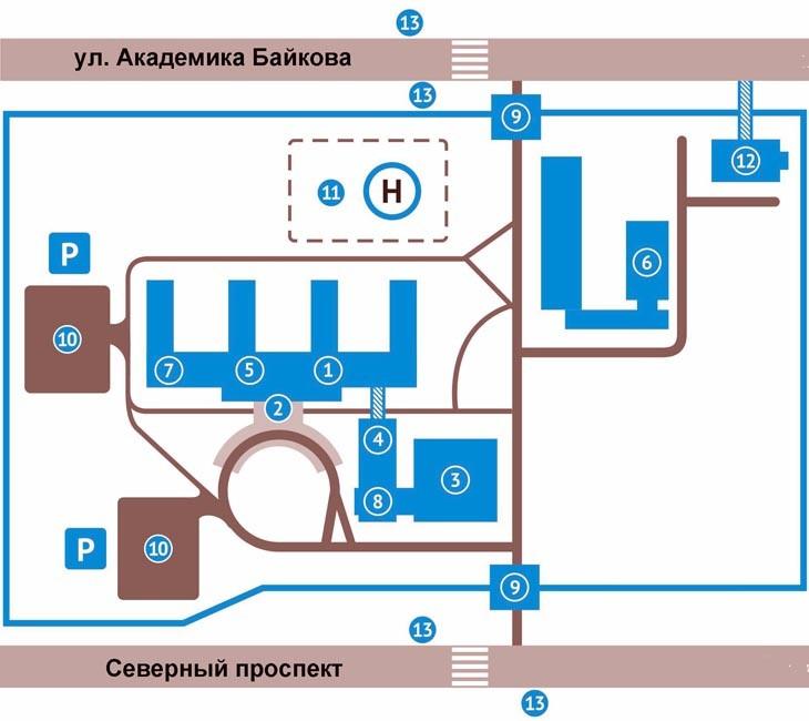 схема территории Елизаветинской больницы №3